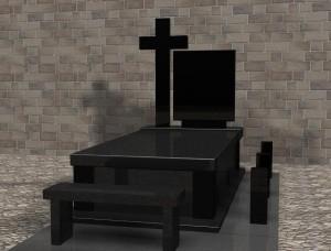 Nagrobki warszawa projekt komputerowy z ławką